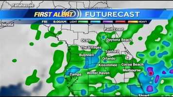 See an hour-by-hour look at rain expected on Friday.