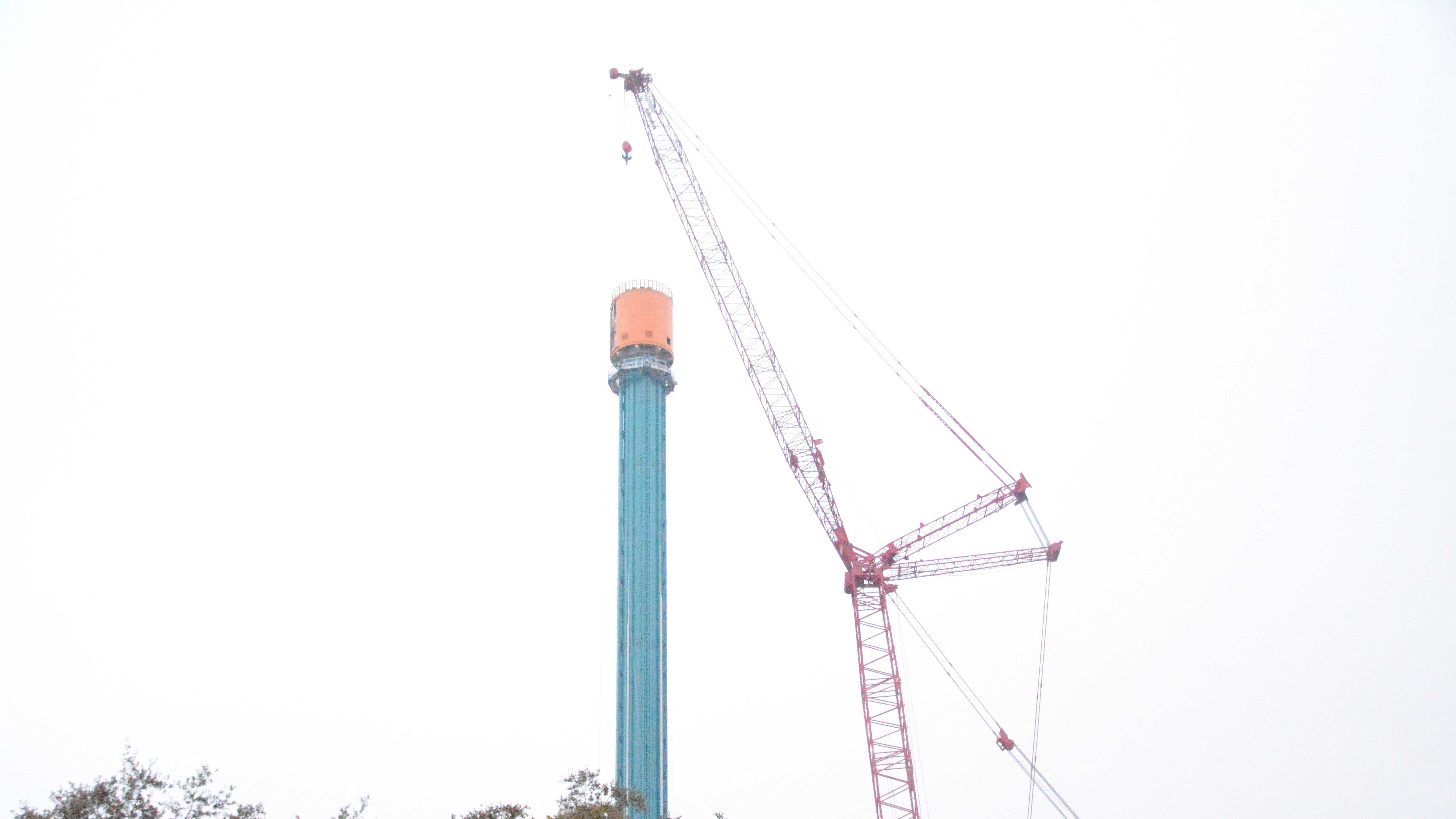 """Busch Gardens' new ride, """"Falcon's Fury,"""" is currently under construction. The ride will open this spring."""