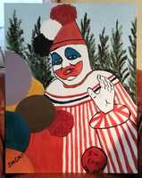 John Wayne Gacy's Pogo the Clown painting.  Gacy, a.k.a. the Killer Clown, murdered and raped 33 teenage boys and young men: $2,750