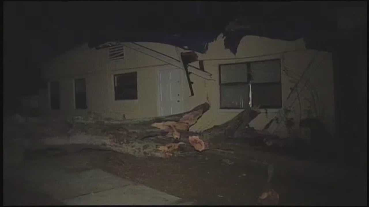 An Orange County home came home from dinner to find an Oak tree fell on their home.