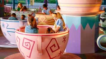 47. Mad Tea Party: Guests sit in an oversized teacup and twirl at their own speed during a madcap music-filled adventureLocation: FantasylandHeight: Any