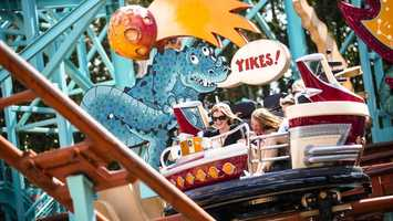 30. Primeval Whirl: Smile and laugh with your little ones on this time-machine coaster as you travel back to the dinosaur ages.Location: DinoLand U.S.AHeight: 48in (122cm) or taller
