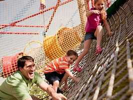 1. Netclimb: Four-story nets that are linked together through a series of winding tunnels and slippery slides. Parents can enjoy this too.