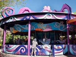 6. Sea Carousel: A marine-themed masterpiece topped by a behemoth 45-foot-wide pink octopus
