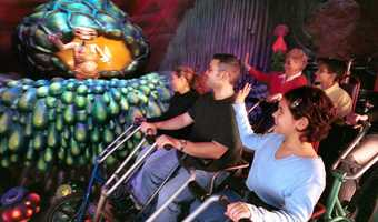 4. E.T. Adventure: Guests will board their flying bicycle and fly over the city, past the moon and soar across the stars. At the end of the journey awaits E.T.Height requirement: 34 inches