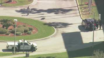 The Brevard County Courthouse in Viera was locked down after a man brandished a gun outside the building on Friday.