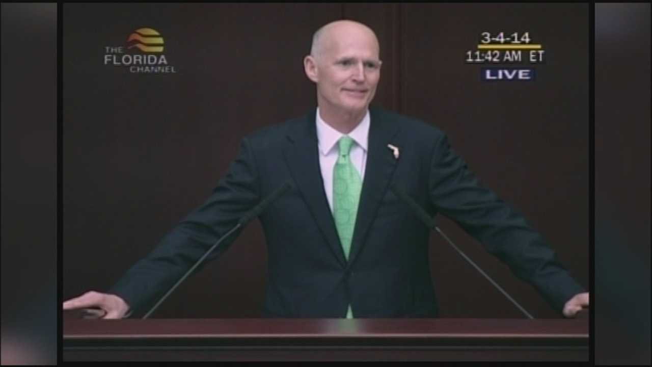 Republican Gov. Rick Scott is touting Florida's improving economy in a State of the State speech that makes a case for re-election as much as it lays out his plan for the final year of his first term.
