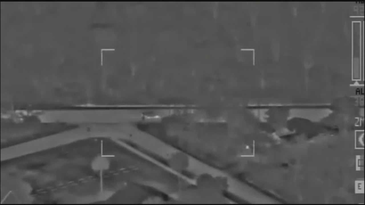 The Seminole County Sheriff's helicopter was tracking a fleeing vehicle when the suspect crashed into a ditch and fled on foot early Sunday morning.