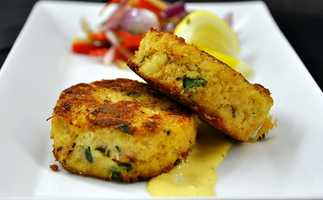 13. Brett's favorite appetizer -- lobster and crab cakes.
