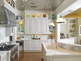 Handmade dove tail solid wood cabinetry in the kitchen.