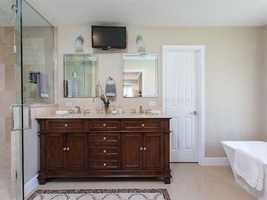Dual vanity sinks in the master bathroom.