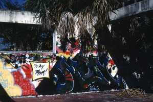 Graffiti in the abandoned Bethlehem Baptist Church building in Sarasota. (1987)