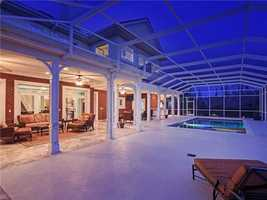 The porch has more than enough space for a pool party.