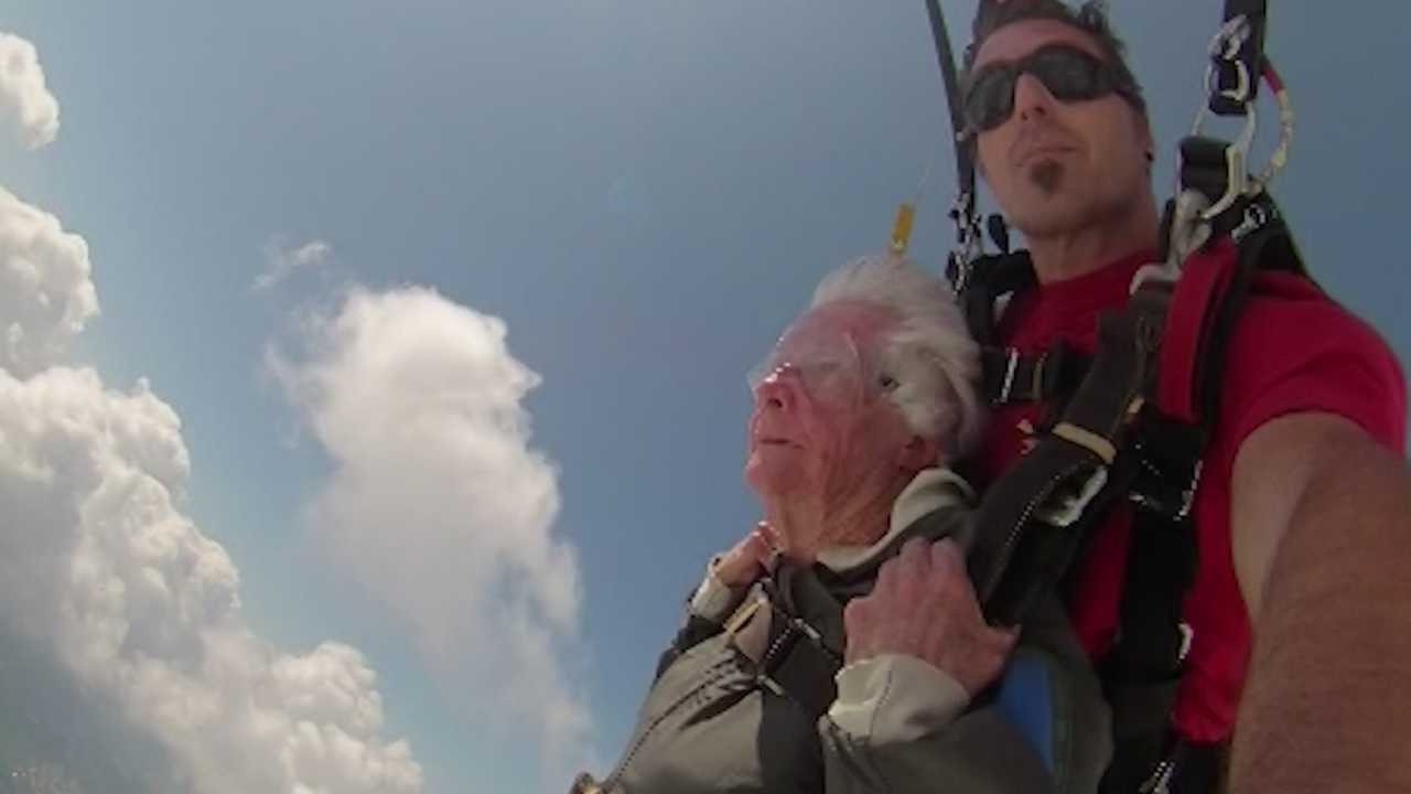 Janice Skelly celebrated her 88th birthday by making her first skydive and says she was inspired to take the jump after she heard President George H.W. Bush jumped for his 80th birthday.