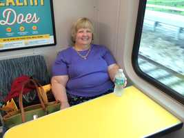 Nora Foust has been riding the Lynx 200 bus from the Saxon Boulevard Park and Ride in Orange City for 13 years to her job at the Orange County Tax Collector's Office. She tried out SunRail on Wednesday.