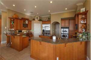The kitchen has top tier appliances.