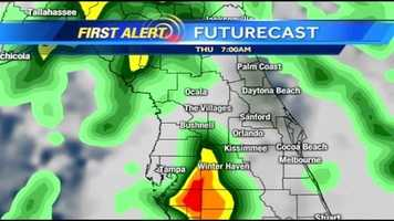 See an hour-by-hour look at storms expected Thursday.