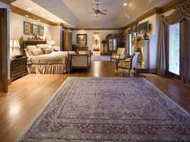 An incredible master suite with his and hers dressing rooms and baths.