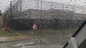 Small amounts of rain traveling through John Young Parkway.