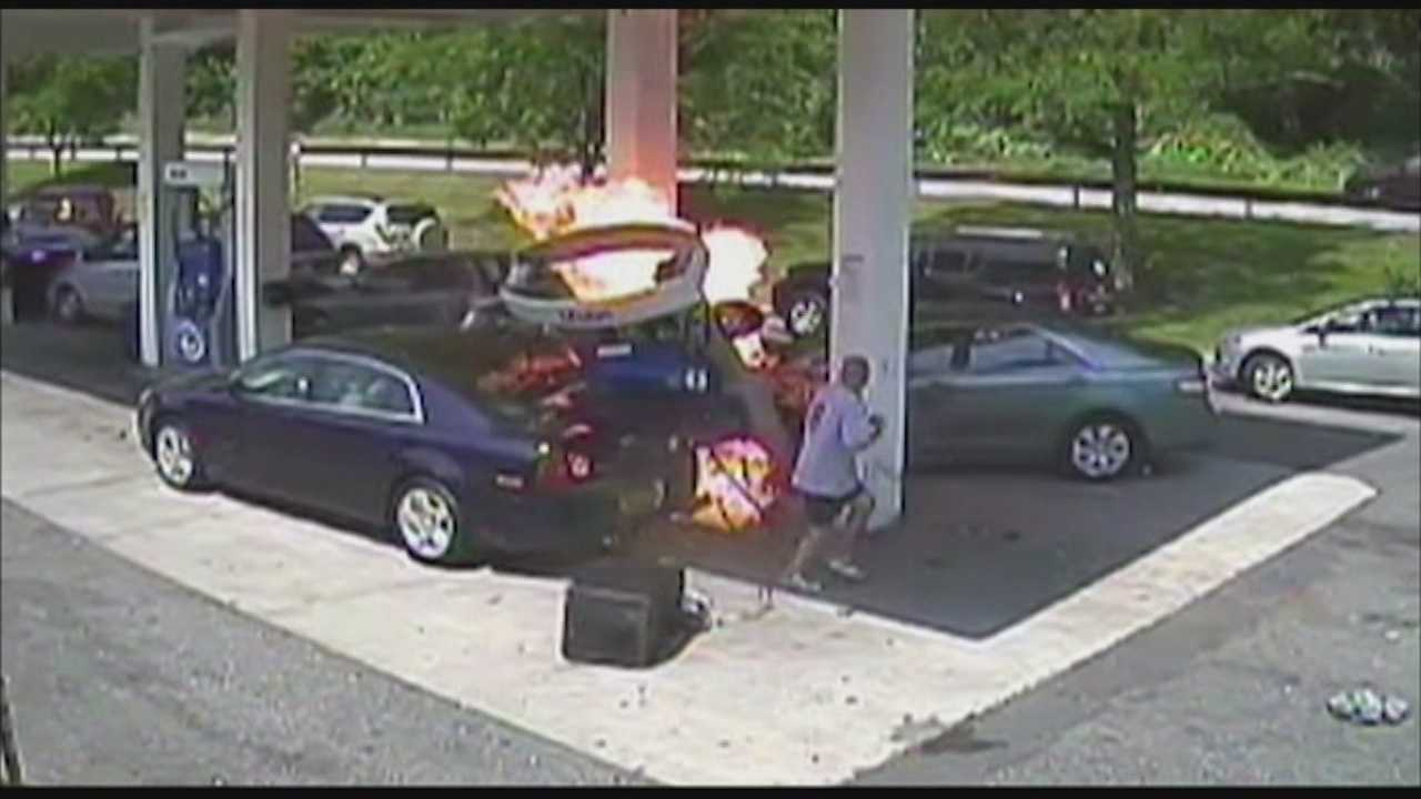 An off-duty officer in New York was gassing up his unmarked car when an elderly man slammed into a pump causing a huge fire. The crash and rescue of the elderly man was caught on camera.