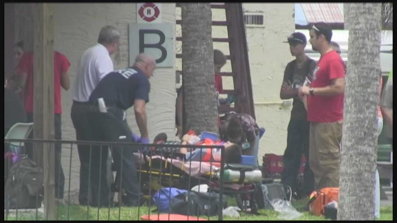 Thirteen people were injured when a rope climbing net collapsed at a teenage boot camp in Merritt Island.