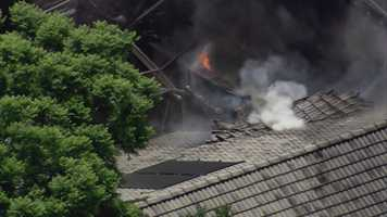 A house on Woody Drive in the Windermere Downs subdivision went up in flames on Monday morning.