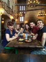 Guests having breakfast at the Leaky Cauldron