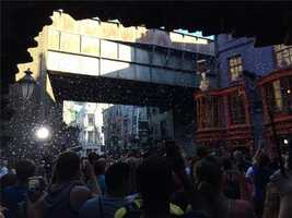 Confetti in Diagon Alley for the celebration