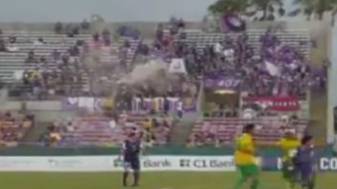 Four Orlando City soccer fans were arrested Sunday during a match against Tampa Bay.