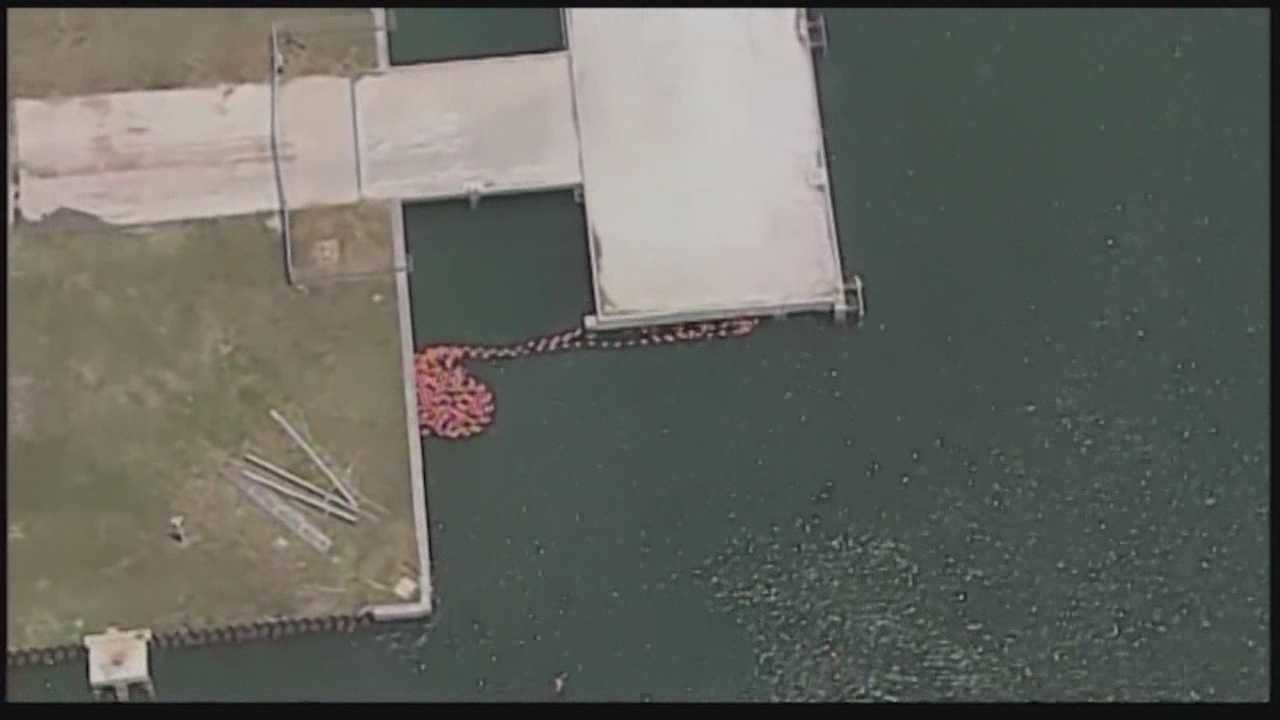 Barge rams pier in Port Canaveral