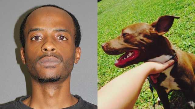 Anthony Hill and stolen dog Red