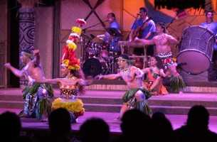 """""""Disney's Spirit of Aloha Dinner Show"""" at the Polynesian Resort features authentic Polynesian dancing with a cast from the South Pacific.Show times are 5:15 and 8 p.m., Tuesday-Saturday. Prices are $67.99, $62.99 and $58.99 for ages 10 and over and $35.99, $30.99 and $29.99 for ages 3 to 9."""