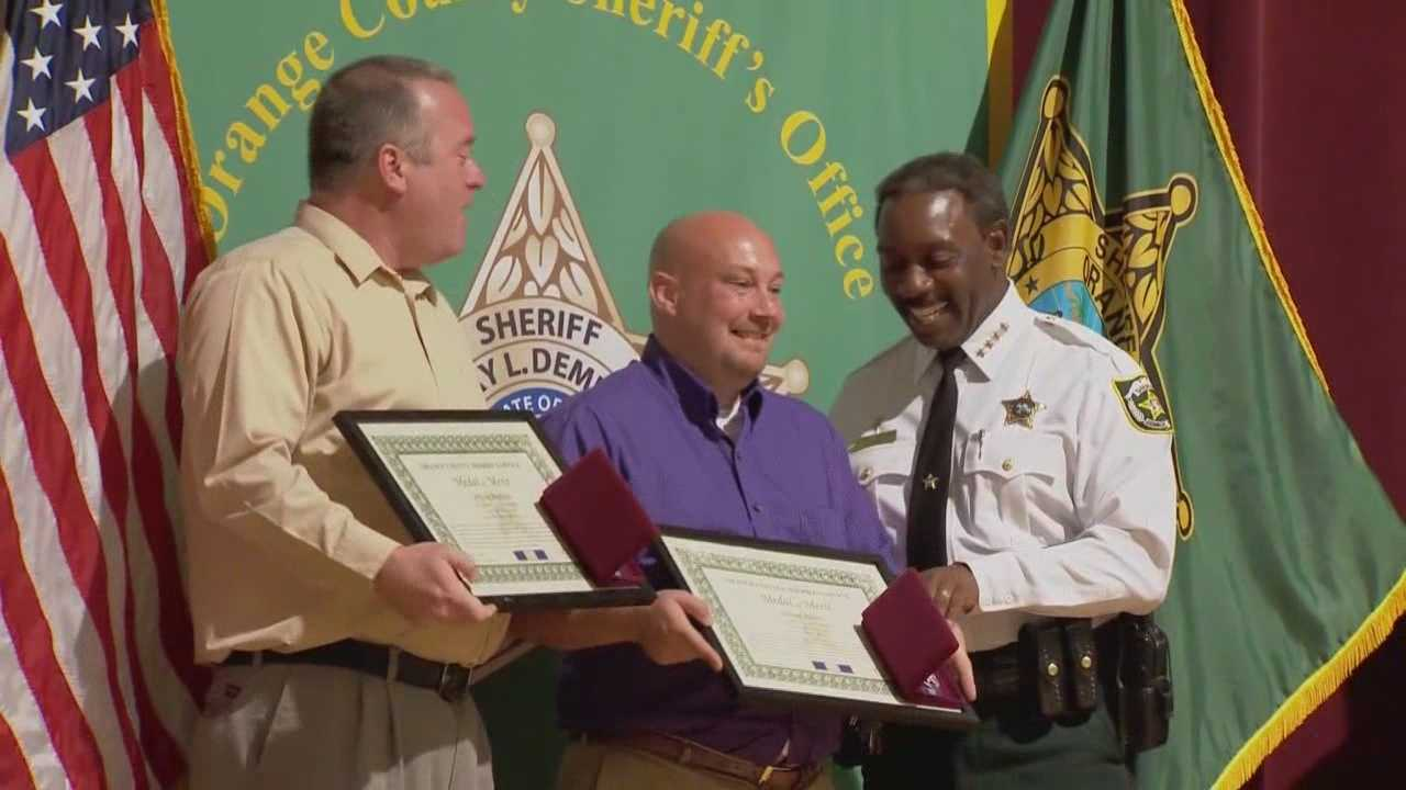 Two good Samaritans, who rescued a stabbing victim, were recognized for their heroic efforts Tuesday.