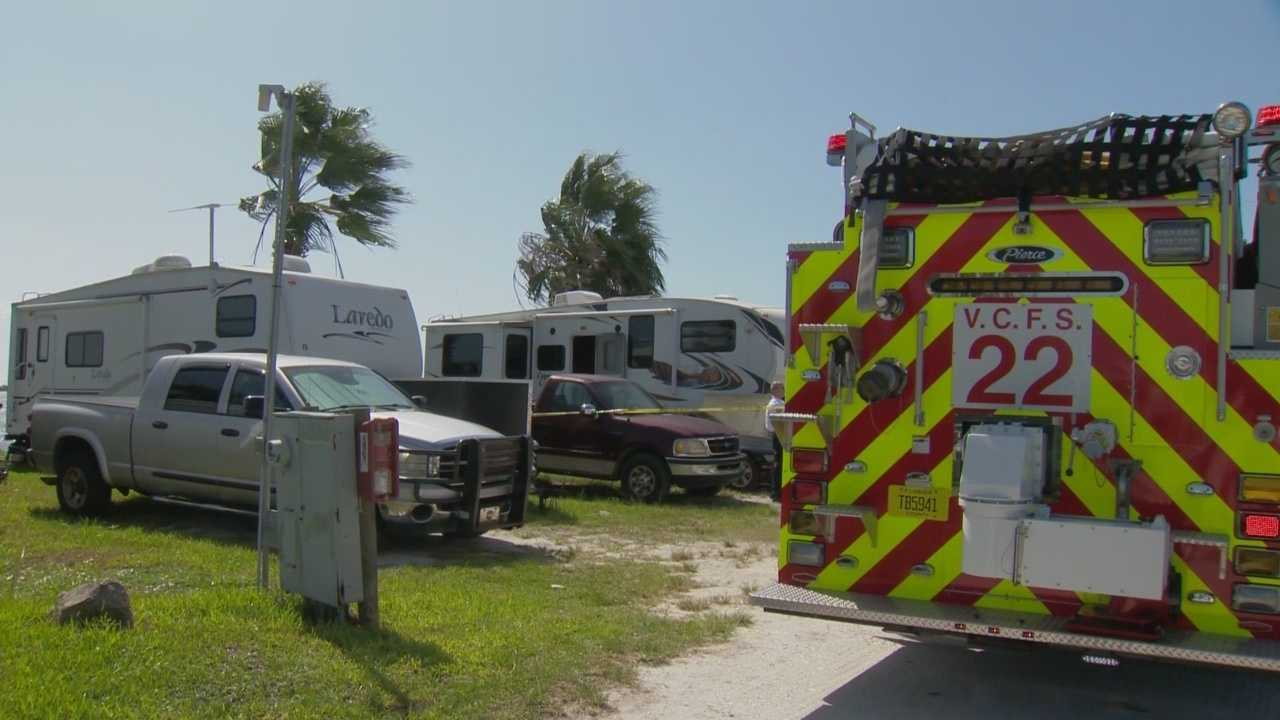 A deputy pulled a man out of a burning RV on Monday, according to the Volusia County Sheriff's Office.
