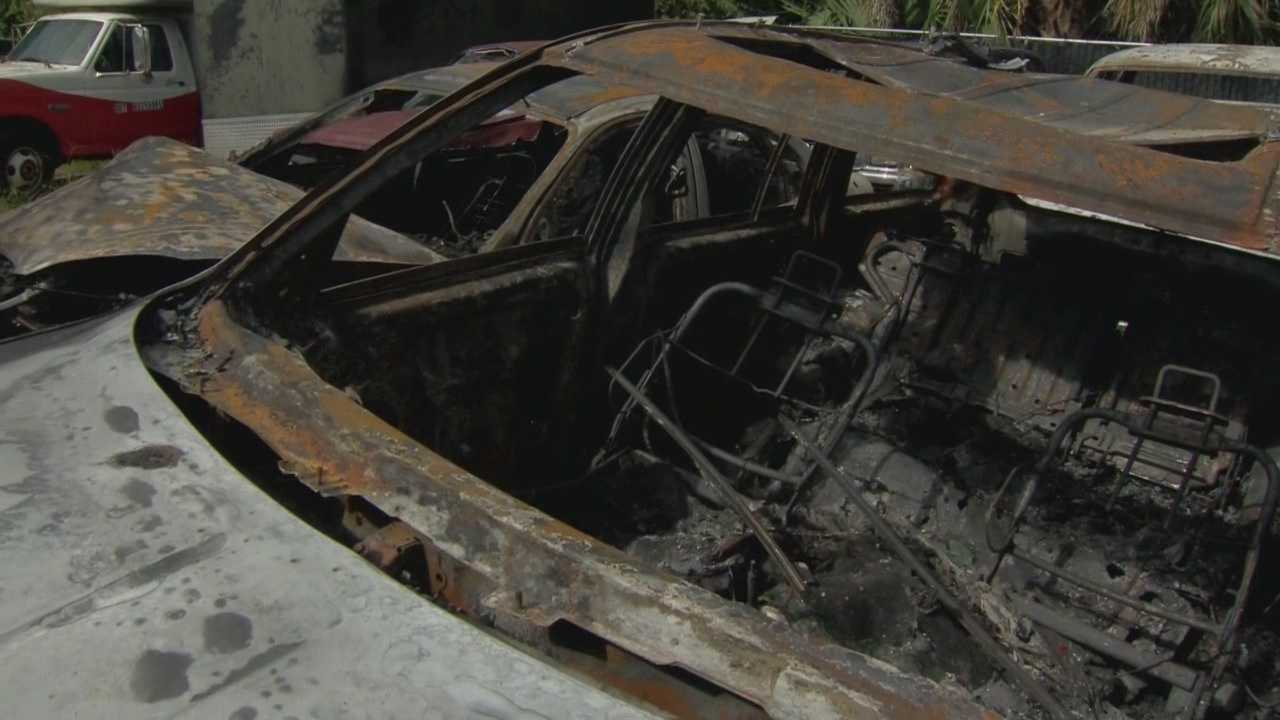Cars totaled after blaze at impound lot
