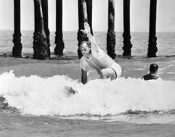1960s or 1970s: Mayor Robert P. Murkshe surfs