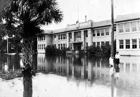1925: Flooding at the Faulkner Street Elementary School building in New Smyrna Beach
