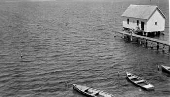 1937: View showing the old boathouse on the Indian River Lagoon at John Bartram State Park