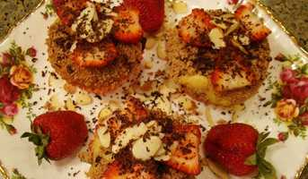 Strawberry Almond Butter FingersPulse strawberries, honey, and cinnamon together in food processor or blender.Reserve 2 tablespoons strawberry jam, set aside.Add Greek yogurt to strawberries in blender, and stir until blended. Pour strawberry yogurt dipping sauce in small serving bowl.Spread reserved strawberry jam on one slice of bread and almond butter on other slice&#x3B; form sandwich.Spray nonstick skillet with cooking spray and turn heat to medium.Once heated, place sandwich on skillet and cook 90 seconds on each side.Place sandwich on cutting board and cut into 5 even slices. Serve warm with side of strawberry yogurt dipping sauce.