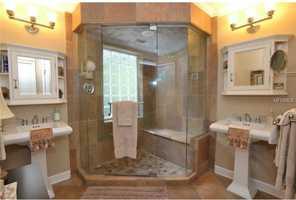 Huge shower in the master bathroom.