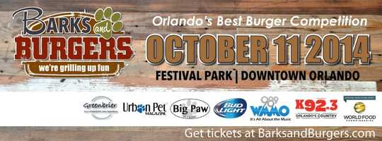 5. Barks and BurgersWhen:Sat., 11 a.m. to 7 p.mThis Orlando burger festival will be a day of gourmet burger sampling, music and fun. Proceeds will benefit The Urban Pet Project. The event kicks off at 11 a.m. with some fantastic music and the smoky smell of fire grilled burgers. There will be fun zones to cool off or let the kids play.Where:Orlando Festival ParkEast Robinson Street and North Primrose Dr., Orlando, FL
