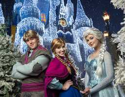 """Nightly beginning Nov. 5 in the Magic Kingdom, Anna and Elsa from """"Frozen"""" will appear in a new show on the Forecourt Stage in front of Cinderella Castle in the heart of the park, as Queen Elsa uses her incredible powers to transform Cinderella Castle into a glistening ice palace for the holidays. Anna, Elsa, Kristoff and Olaf also will join the festive procession """"Mickey's Once Upon a Christmastime Parade"""" along with a flurry of skaters, skiers and ice cutters from the Kingdom of Arendelle. The parade is offered during the special-ticket Mickey's Very Merry Christmas Party, select nights November 7 - December 19, and each afternoon for park guests Dec. 20-31."""