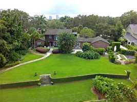 An aerial view of the property, shows off the home's splendor.