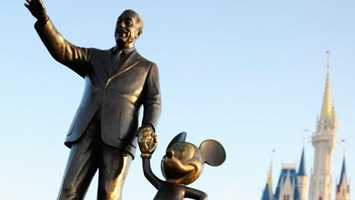 10. The infamous Partners Statue of Walt Disney and Mickey Mouse holding hands debuted at Disneyland park on Mickey's birthday in 1993. A second one debuted at Magic Kingdom Park at Walt Disney World in 1995.