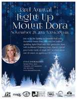 4.33rd Annual Light Up Mount DoraWhen:Sat., 5:30 p.m.Where:Donnelly Park, 530 N. Donnelly St., Mt. DoraCelebrate the 2014 holidays against a backdrop of two million sparkling lights in beautiful downtown Mount Dora.Go to www.mountdorachristmas.com for more information.