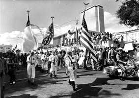 March of the Ku Klux Klan in Tallahassee on February 1977.