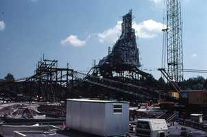 Construction of Big Thunder Mountain in 1979