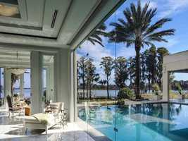 European sliding glass doors provides a spotless view of the pool and the option to stay inside if you want to enjoy the shade and A/C.