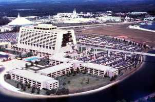 Aerial view overlooking Disney's Contemporary Resort hotel at the Magic Kingdom in Orlando.