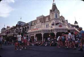 View of Main Street during a busy day at the Magic Kingdom in 1979